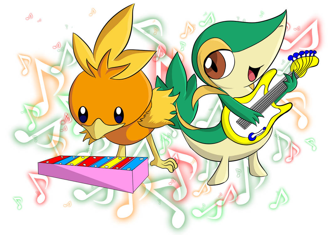 Snivy and Torchic by CrazyWackyBonkerz