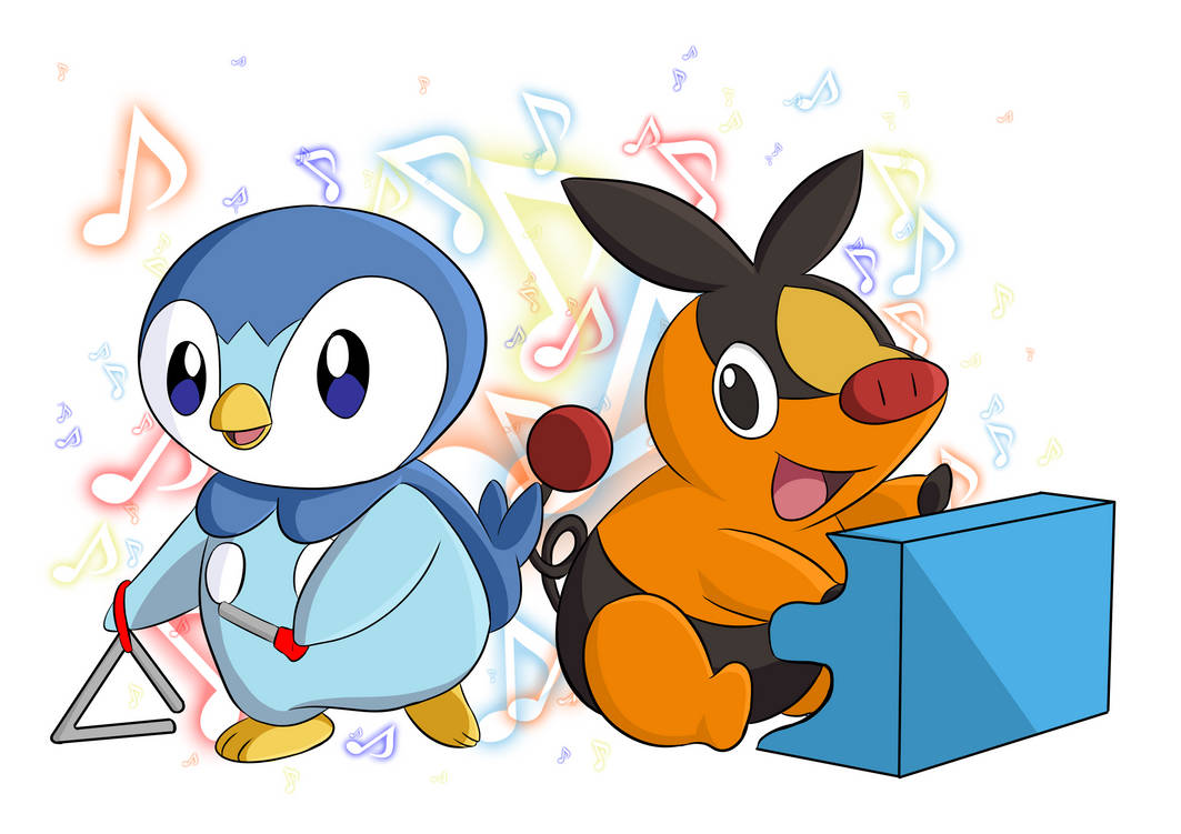 Piplup and Tepig by CrazyWackyBonkerz