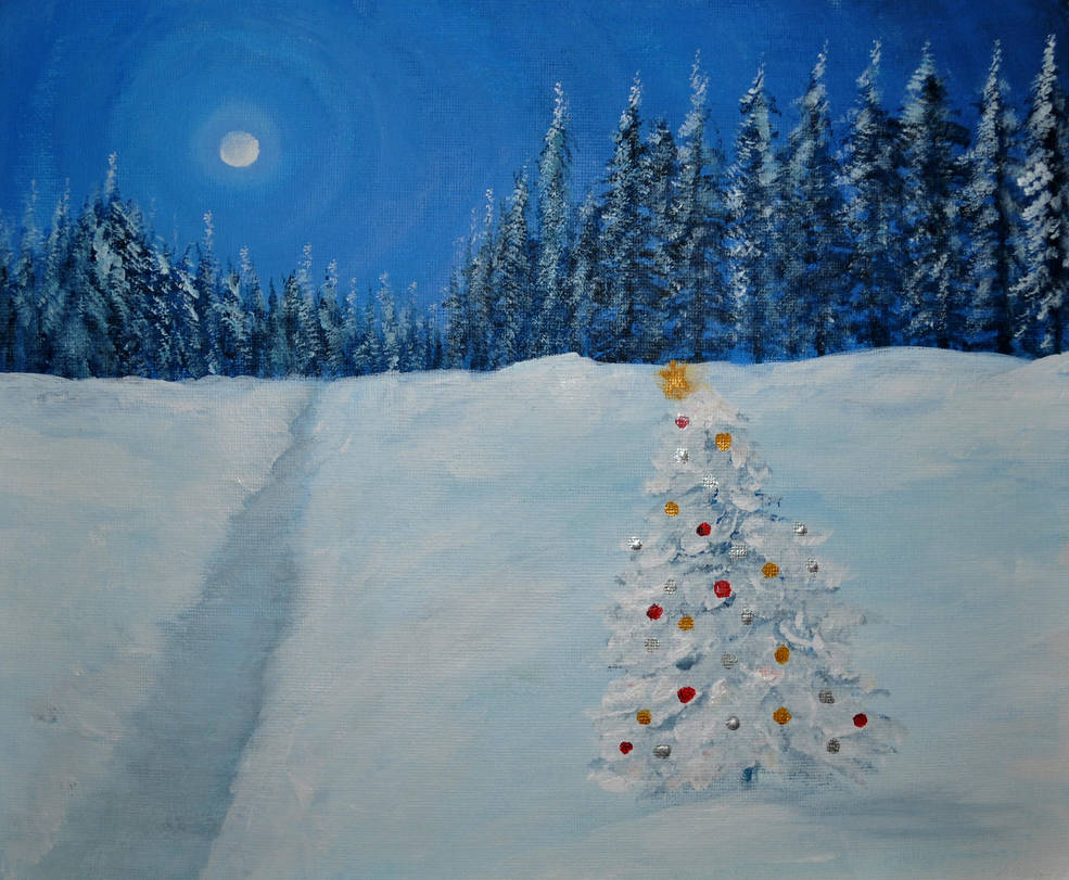 Acrylics Practice - The Little Christmas Tree by Forestina-Fotos ...