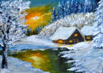 Winter Wonderland - mini 5 x 7 inch canvas by Forestina-Fotos