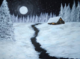Night Winter Cabin - Work in progress by Forestina-Fotos