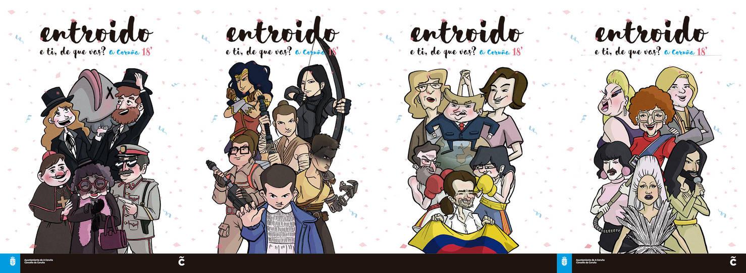 Carteles Entroido Coruna 2018 by yupiyeyo