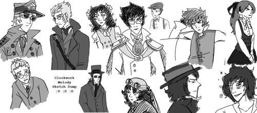 Clockwork Melody Sketchdump by SuperCatGirl
