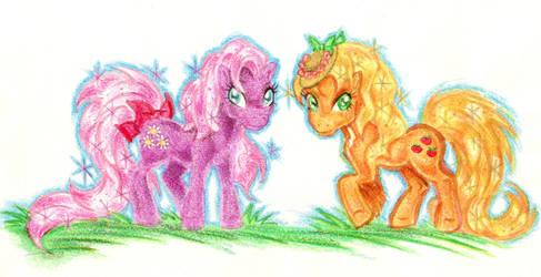 Cheerilee And Applejack by blackhellcat