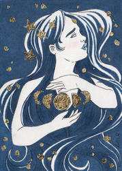 Moon + Stars by blightedangel