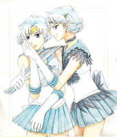 Sailor Mercury + Dark Mercury by skimlines