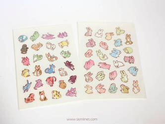 Rabbits and cats stickers by skimlines