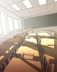 Classroom with 3 point perspec by skimlines