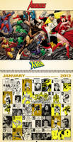 Retro inspired 2013 Marvel Comics Calendar, Jan. by dusty-abell