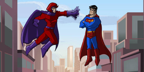 Magneto vs Superman by Mohamme