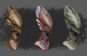 Alien bust concept design by RedMonsterArt