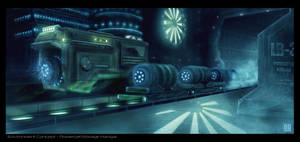 Environment concept - Futuristic Hangar by NoeleoNl