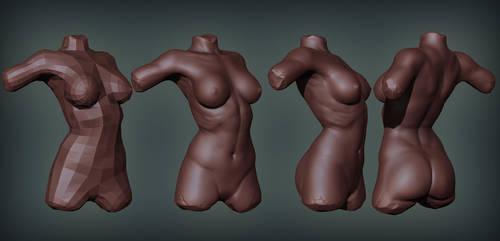 Female torso sketch by digitalinkrod