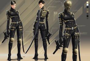 Golden Dragon assassin suit by digitalinkrod
