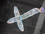 Blue and Pink Cross Doily by Lilmizflashythang