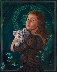 Girl with Tiger by starwonderart