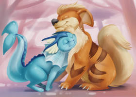 Vaporeon and Growlith Cuddle by Silverkiwi78