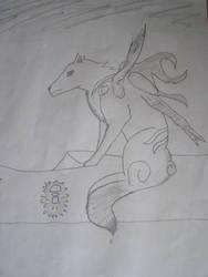 Okami and Issun- Sketch 4 by xlaxmotax