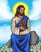 Jesus with Dachshund by TestingPointDesign