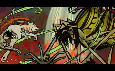 Amaterasu VS the Spider Queen by Avibroso
