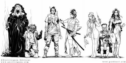 Medieval Superheroes characters by pardoart