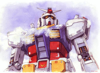 Gundam RX-78-2 Fanart (watercolor illustration) by Trunnec