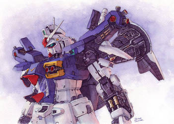 Gundam GP01 in watercolor by Trunnec
