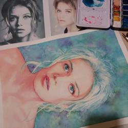 Watercolor portrait WIP by Trunnec