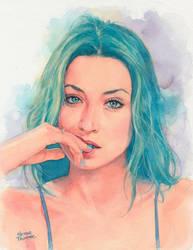 Bluehair Watercolor Portrait by Trunnec