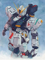 Nu Gundam watercolor by Trunnec