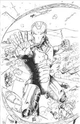 Iron Man - Hammerdroid Attack - Inked by TheEndofOurLives