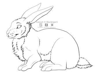 Free Rabbit Line Art by Blacktiger5