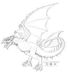 Free Wyvern Line Art by Blacktiger5