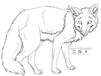 Free Fox Line Art by Blacktiger5