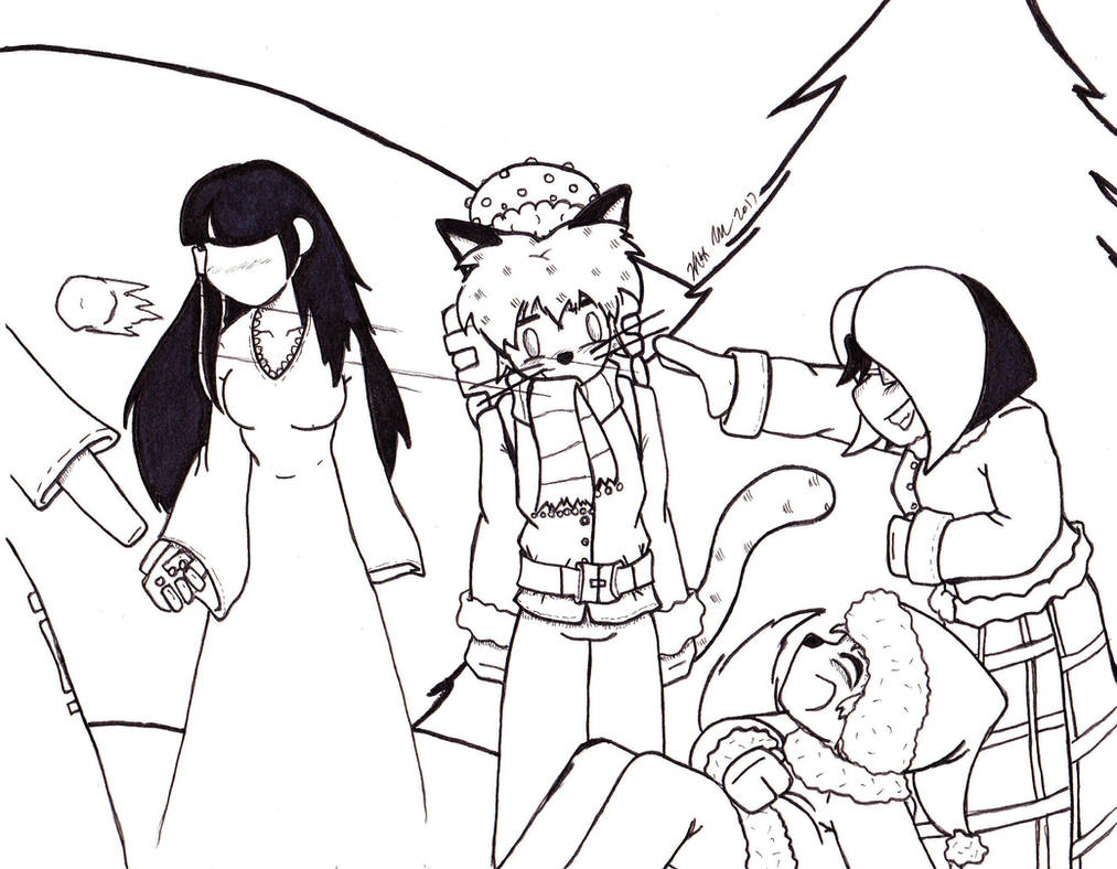 Christmas 2017 Panel 3 lineart by Catboy-Trades