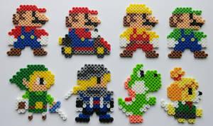 Super Mario Maker Costumes Perler Beads by kamikazekeeg