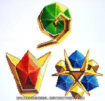 Legend of Zelda Spiritual Stones Perler Beads by kamikazekeeg