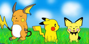 Pikachu, Raichu, Pichu by BlueSmudge