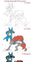 Create Zoroark VS Lucario by KairouZ