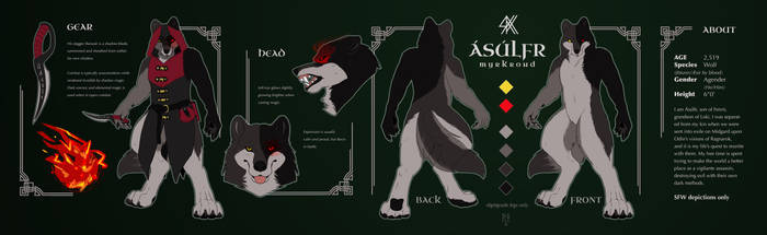 Asulfr's new ref sheet by Nahdiafur! by AsulfrMyrkrond