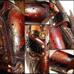 Steampunk Greaves by BadLukArt