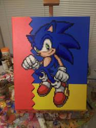 Sonic the Hedgehog pixel painting by PixelArtPaintings