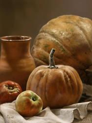 still life with pumpkins by Animal75Artist