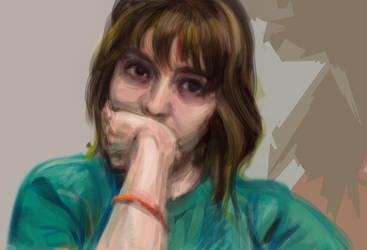 Self-portrait digital paint practice by xcnugget