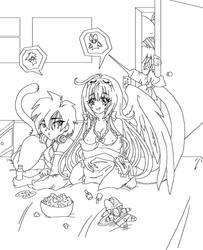 Line art of Furipa's birthday slumberparty gift by serachi1