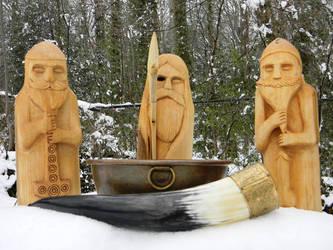 Thunor - Woden - Ingui-Frea  Carved Wooden Idols by runehammer9