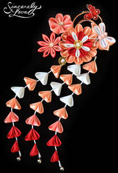 Red Peach Passion Kanzashi by SincerelyLove