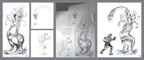 Three early stages for a drawing by MerianDenham