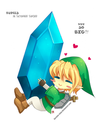 -- Chibi Link and Big Rupee -- by Kurama-chan