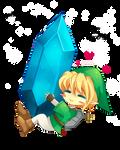 -- Chibi Link and Big Rupee -- by Kurama-chan